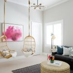 Family Room Design Gray Area Rug With Diamond Patterns In Black White Round Shaped Center Table A Couple Of Hanging Chairs With Throws Dark Gray Sofa