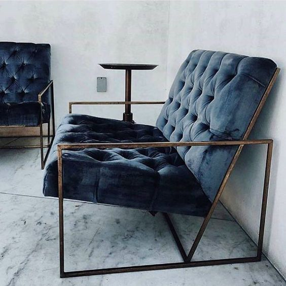 old look tufted navy blue velvet sofa with metal frames