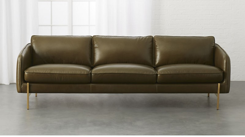 olive green leather sofa in modern style