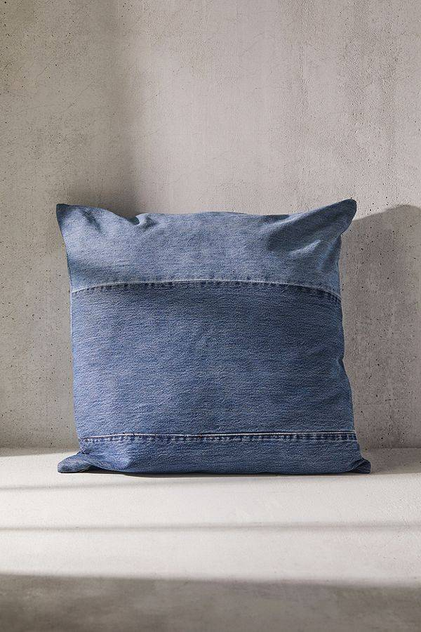 reclaimed denim throw pillow