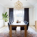 Semiformal Dining Room Design Formal Dining Chairs Formal Dining Table Shabby Look Area Rug Luxurious Pendant In Gold Deep Blue Window Curtains Potted Houseplant
