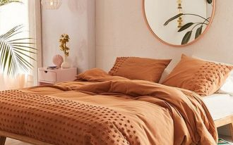 sepia colored duvet cover with tufted dots