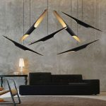Unique Lighting Fixtures With Different Heights Ultramodern Sofa