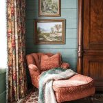 Victorian Style Seating Area Velvet Chair In Dark Pink Floral Patterned Curtains Layer Colors Area Rug Hardwood Closet Gold Framed Wall Pictures