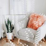 Corner Seating Area Light Gray Corner Chair In Midcentury Modern Style Wood Leg White Pot With Houseplant Furry Rug