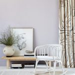 Dramatic Curtains With Simple Black Patterns White Rock Chair Wooden Table