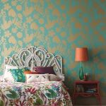 Fancy Bedroom Design Radiant Blue Wallpaper With Gold Toned Patterns Fancy Bed Frame With Crafted Headboard Fancy Bedside