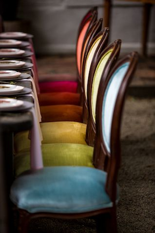 fun and colorful Thanksgiving chairs with colorful upholstery and backrest