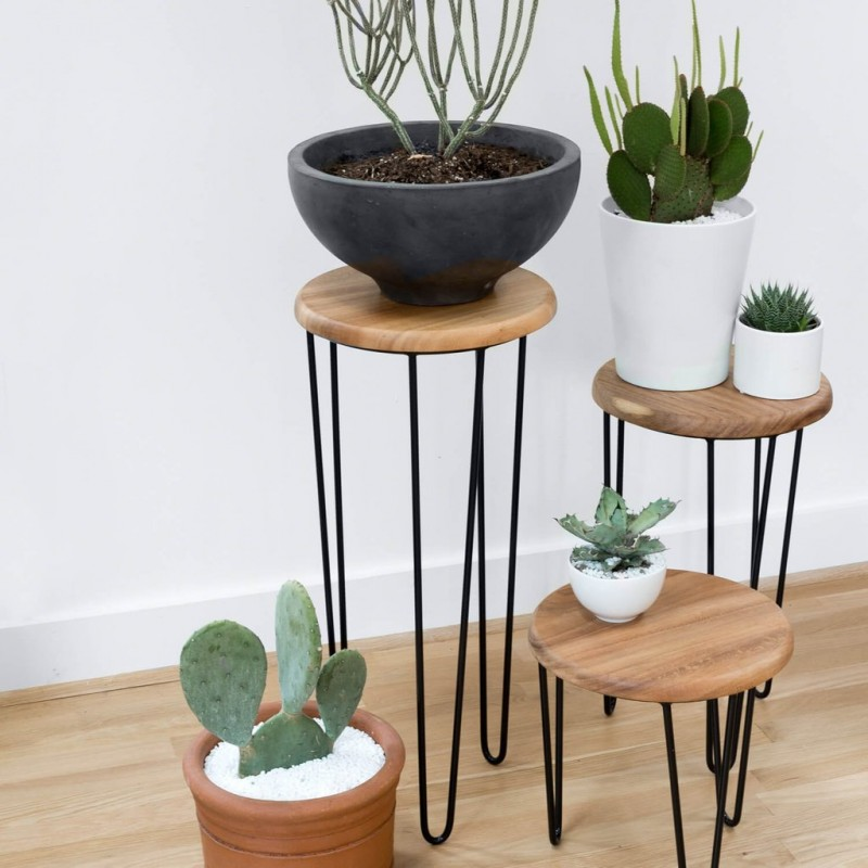hairpin leg side tables with round wood top