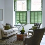 Half Way Window Shutters In Green Neutral Living Room Furniture Set Shag Rug In Gray