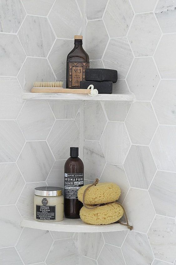 hexagone tiles wall in soft bright tone