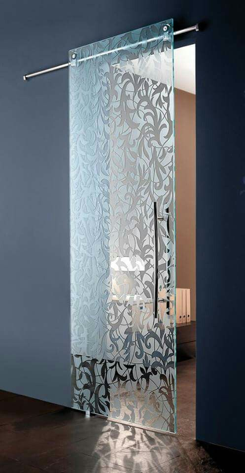 modern sliding glass door with classic floral accents