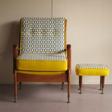 mustard print chair with wood structure mustard print side table with wood structure