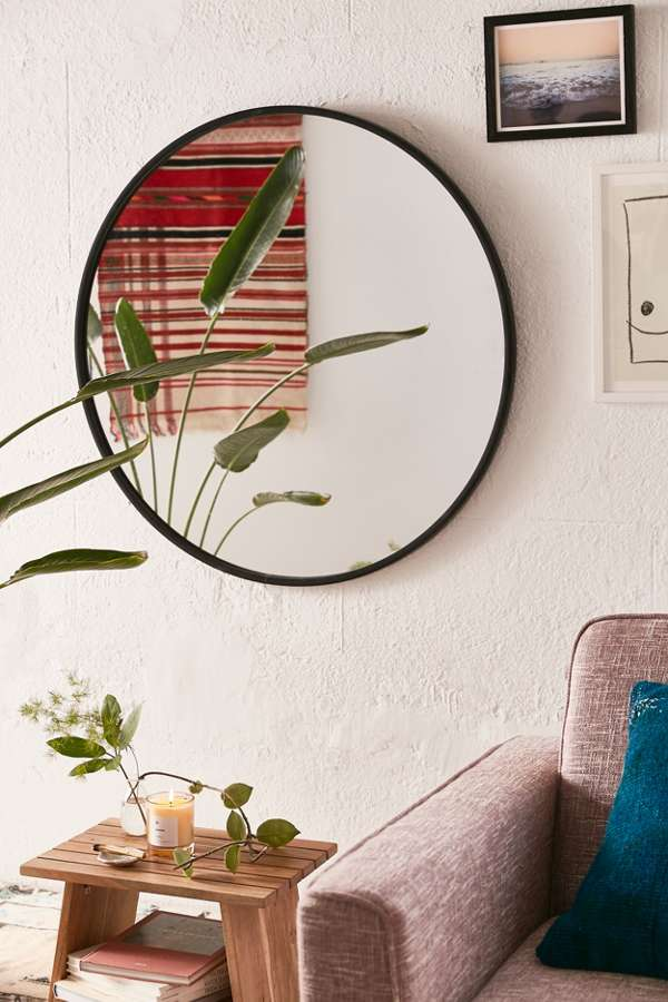 oversized wall mirror with black frame