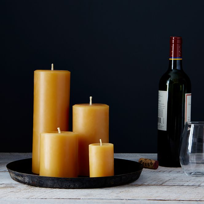 pillar candles in different size and height