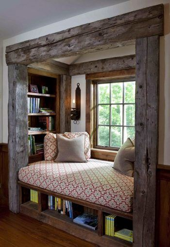 recessed reading chamber with wood frame bench seat with under bookshelves recessed bookshelves