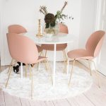 Soft Pink Chairs With Brass Legs Round Marble Top Dining Table Round White Shag Rug Wood Board Floors
