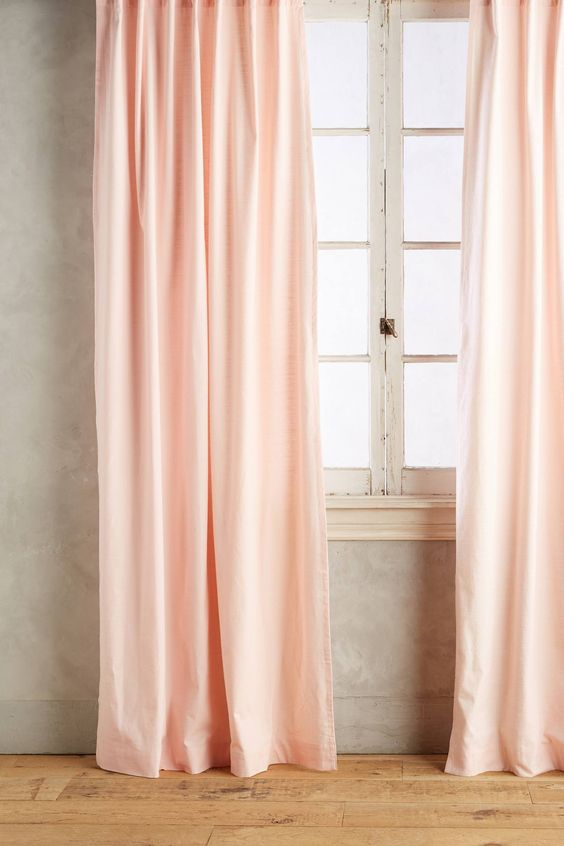 soft pink curtains white window trims crisp white wall painted wood floors