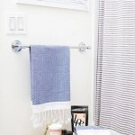 Tiny Bathroom Design Horizontal Striped Shower Curtains Light Wood Side Table Black White Towel Sustainable Self Products