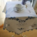 Vintage Table Skirt With Hand Knitted Floral Patterns