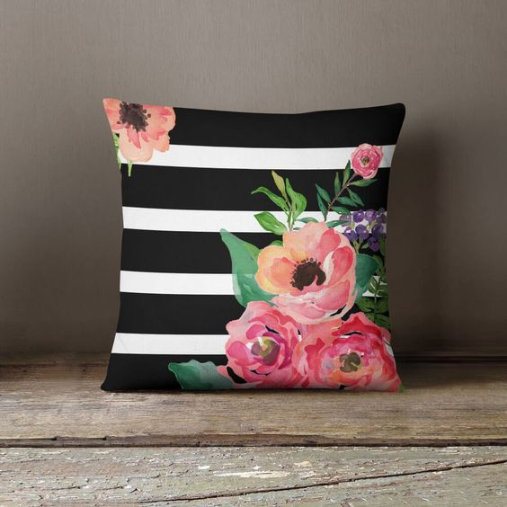 white black striped featuring floral pattern in throw pillow