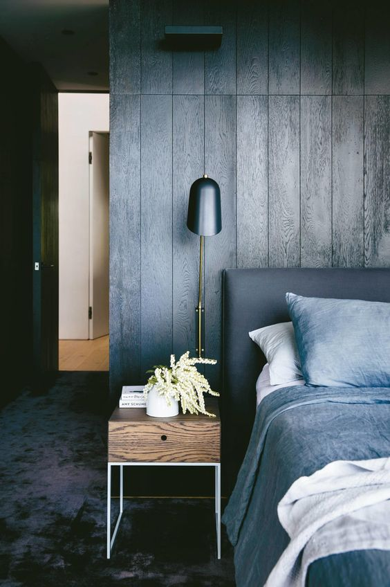 wood finishing wall and floor in dark tone bed frame with gray headboard wood bedside table with drawer gray bedding treatment