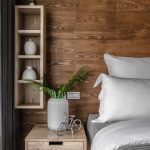 Wood Wall Vertical Wood Storage Unit Wooden Bedside Table White Bed Linen White Pillowcases Striped Duvet Cover