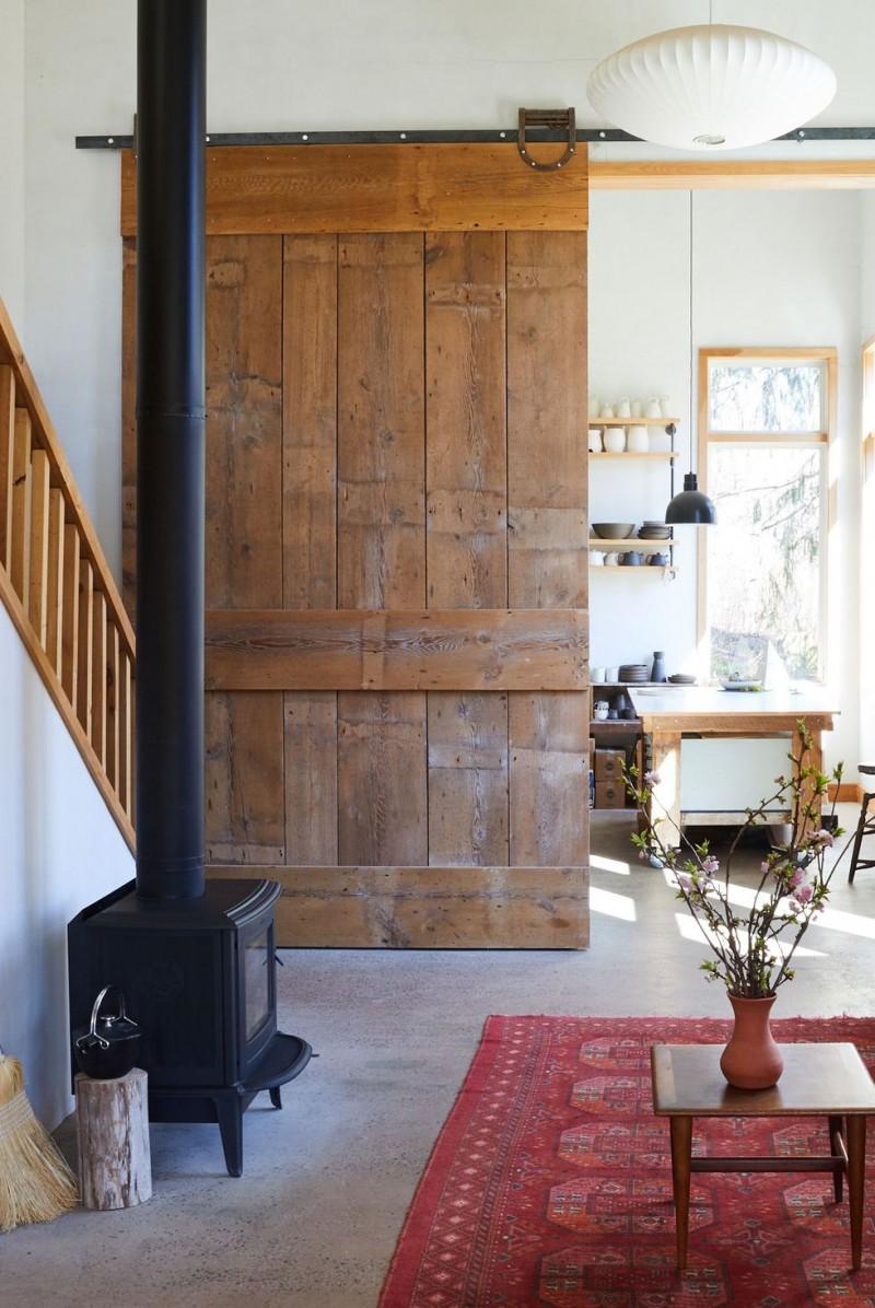 wooden ledged & framed door