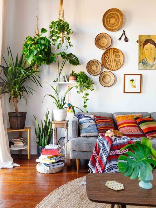 Bohemian style living room design gray couch multiplecolored throw pillows dark wood coffee table potted greenery wood colored wall decors