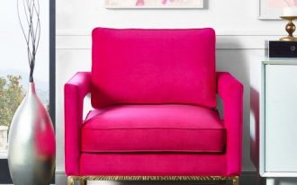 Fushcia lounge chair in hot pink