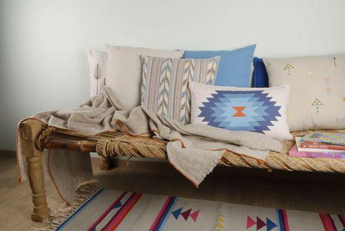 bamboo bench seat with original American motif throw pillows american motif runner