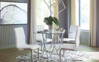 chrome finish round top dining table chrome finish dining chair modern black white rug vertical striped wallpaper in gray white modern chrome pendant