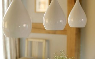 clean line and minimalist pendants with white ceramic lampshade