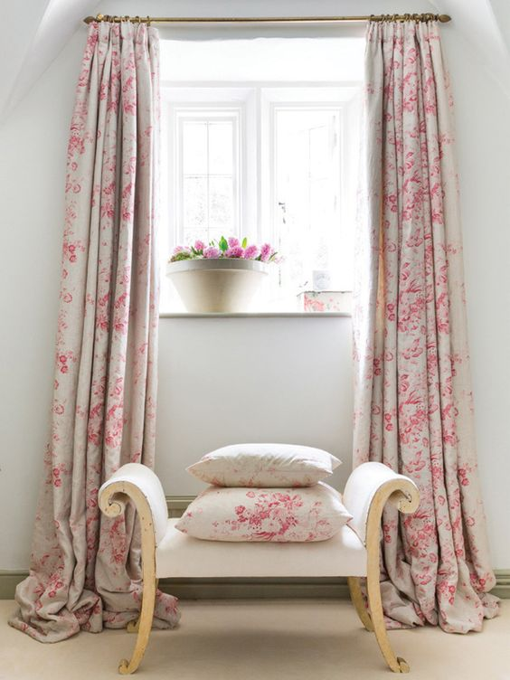 fall over base curtains with pink flower motifs gold toned rod and rings small Victoria setee throw pillows with pink flower motifs