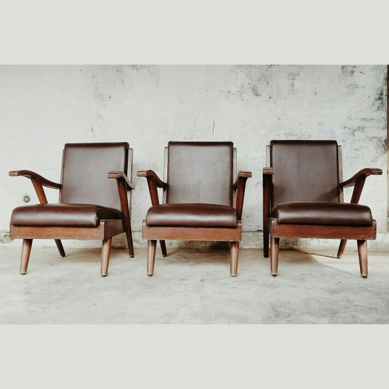 jengki antique chairs with leather cover and back