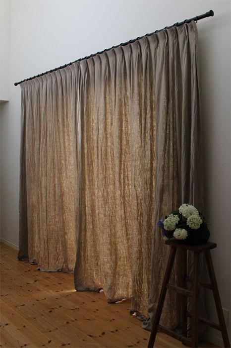 linen curtains in rustic color shade