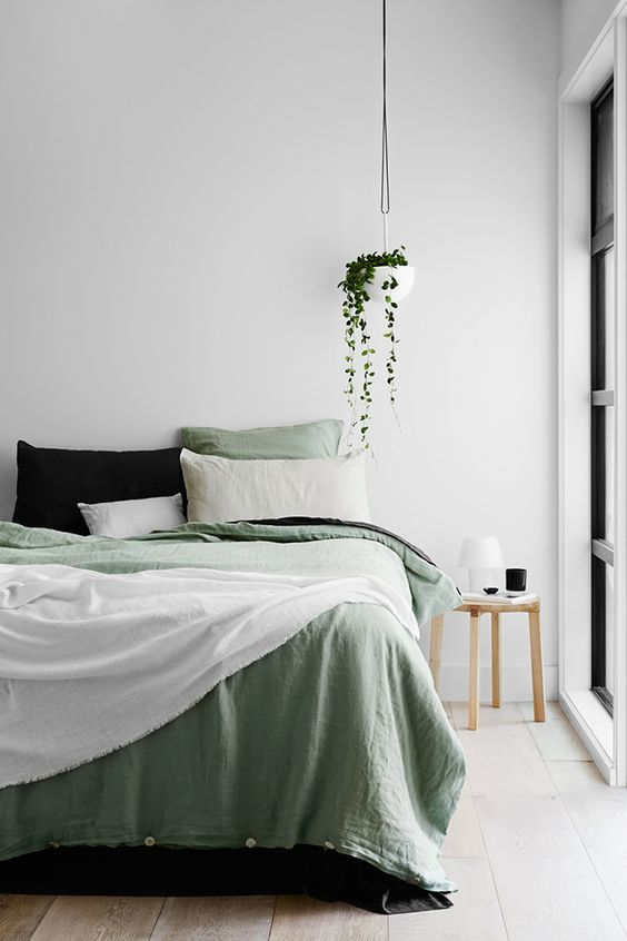 minimalist & clean look bedroom idea hanging greenery in white pot gray bedding product light wood floors light wood bedside table