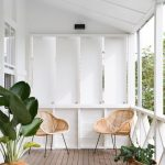 Minimalist Front Porch Design A Couple Of Wood Wire Chairs With Metal Legs Potted Plants
