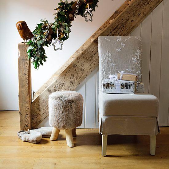 ornate greenery for hallway white chair slipcover fury wood stool