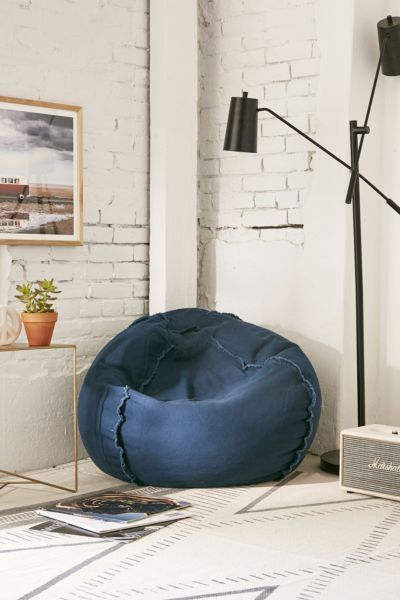 oversized beanbag in deep blue with sewn accents