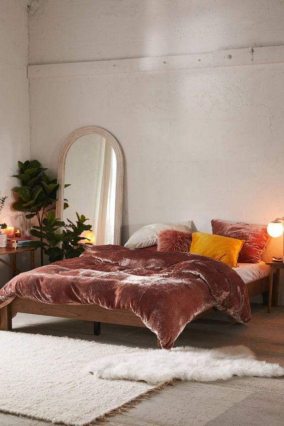 pink velvet duvet yellow pillow pink velvet pillow white area rug white shag bed mat