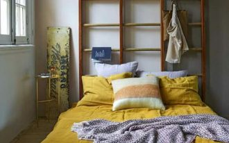 pop of yellow comforter and pillowcases DIY headboard plus creative solution