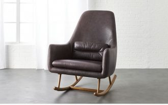 rocking chair with black leather