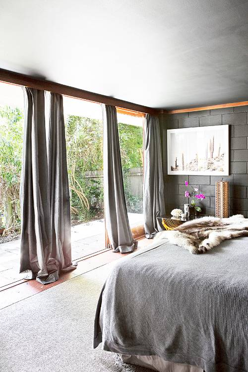 separated curtains in gray for multiple glass windows gray bedding treatment