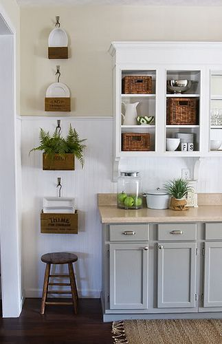 simple and small kitchen idea with ornate greenery