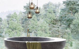 super large belvederes with clear glass paneling concrete bathtub herringbone wood floors dramatic pendants