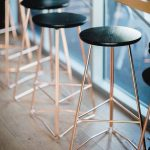 Ultramodern Stools With Rose Gold Finishing And Black Round Seat
