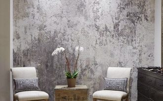 venetian plaster wall idea a couple of chairs in white crate made table