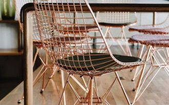 wire dining chairs in rose gold finish