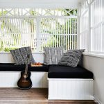 Wood Screened Porch In White L Shaped Bench Seat With Black Mattress Pads